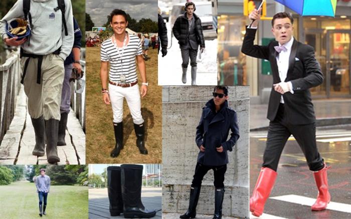 Как и с чем носить резиновые мужские сапоги