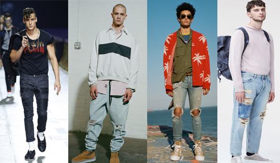 Летние рваные мужские джинсый