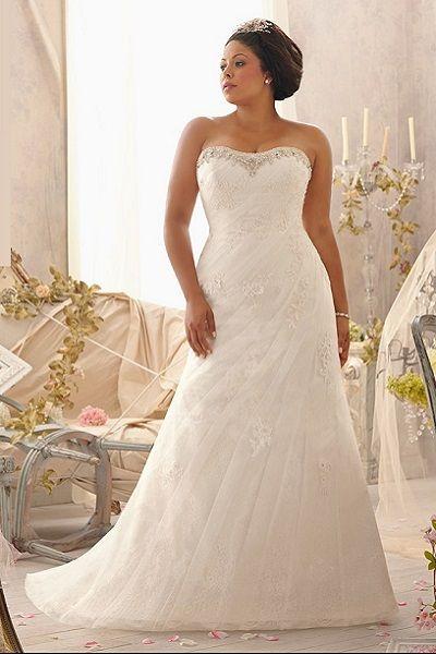 Свадебное платье без бретелей большого размера