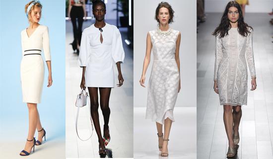 Белое платье в строгом стиле