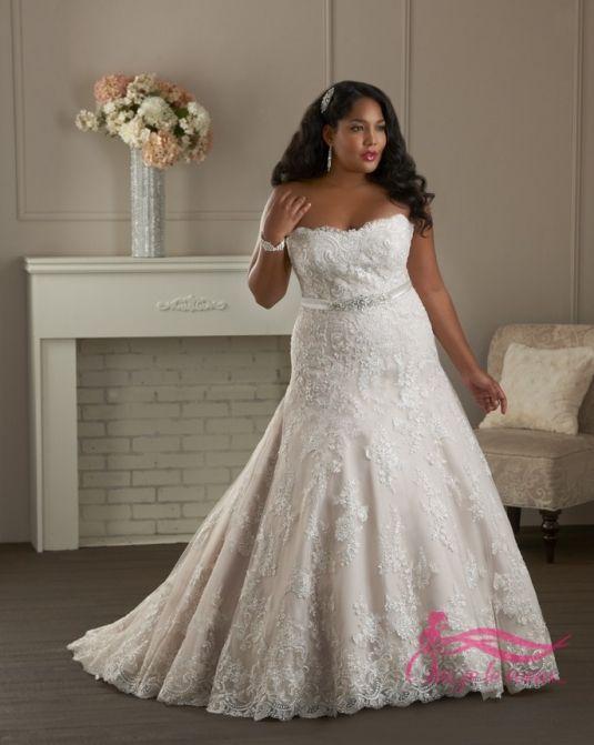 Свадебное платье с открытым верхом большого размера