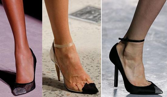 Черные туфли с серебряным носом