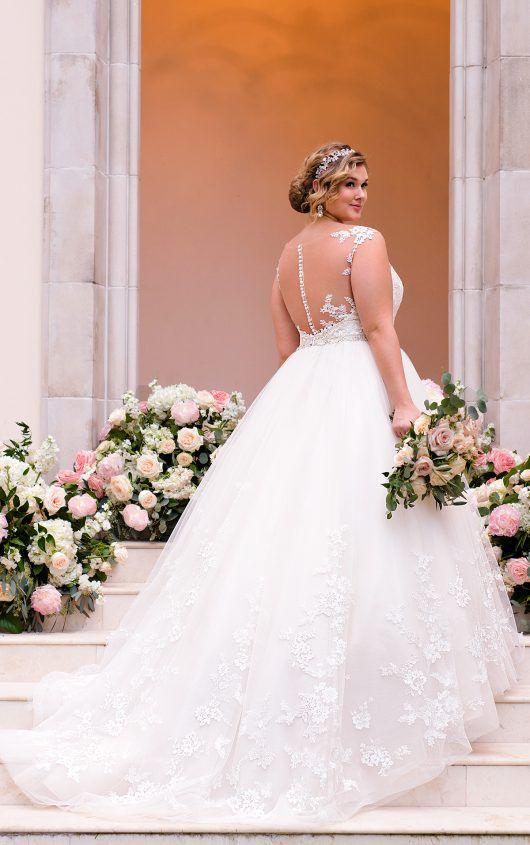 Свадебное платье с открытой спиной для полных