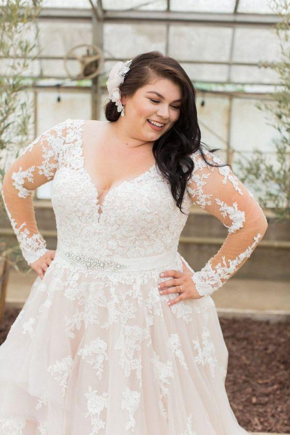 Свадебное платье с длинными рукавами большого размера