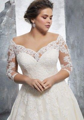 Свадебное платье с открытыми плечами большого размера