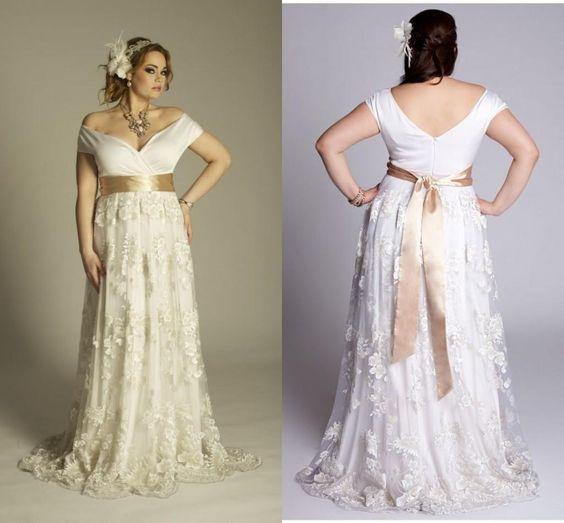 Кружевное свадебное платье в пол большого размера