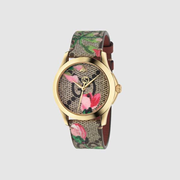 Наручные часы с цветочным рисунком Gucci