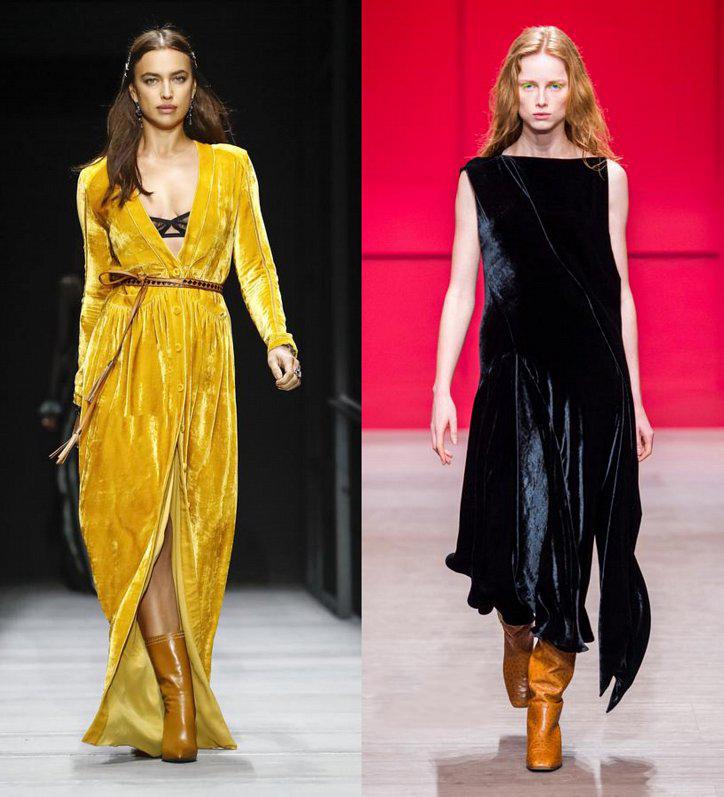 Желтое бархатное платье