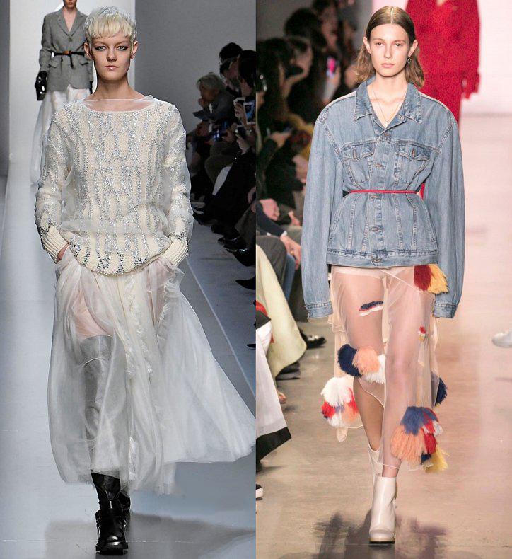 Серая прозрачная юбка