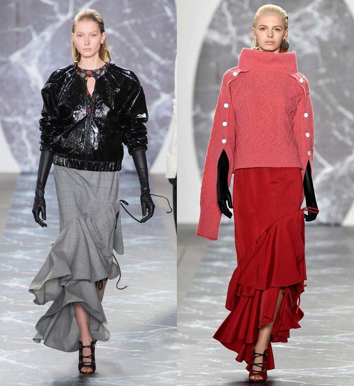 Красная длинная юбка с воланами