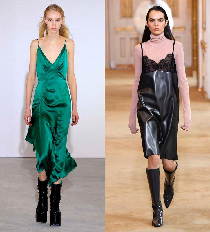 Зеленое платье в бельевом стиле