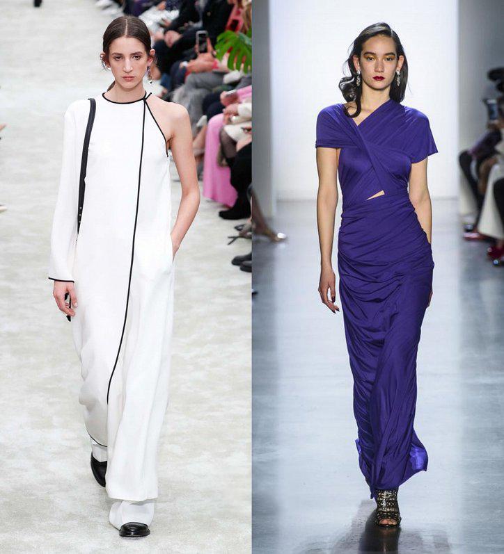 Белое асимметричное платье в пол