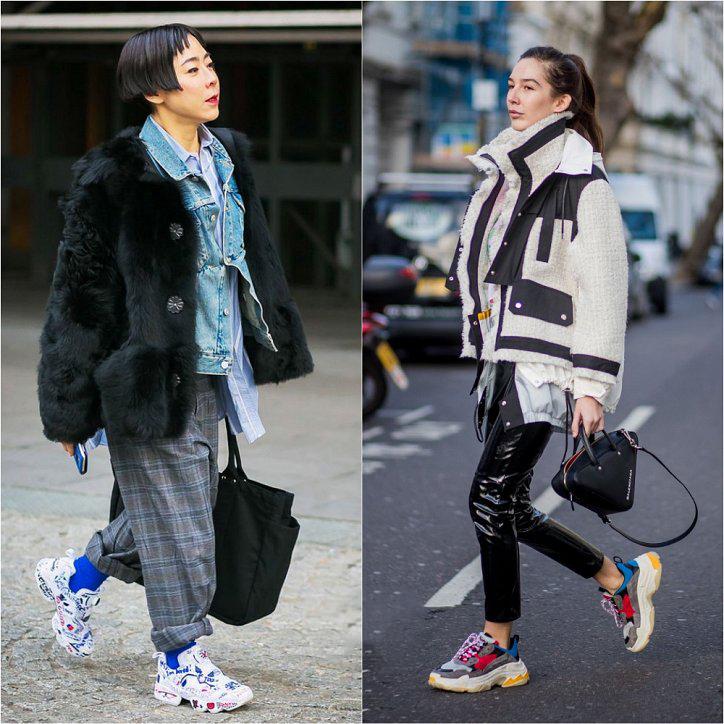 Узкие кожаные брюки с кроссовками