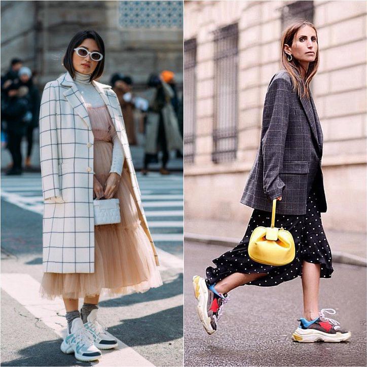 Как носить пышную юбку с кроссовкамий