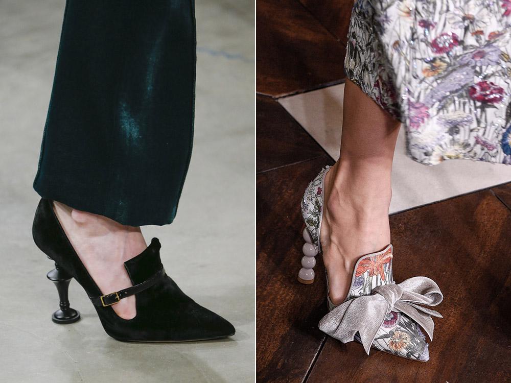 Черные туфли с необычным каблуком