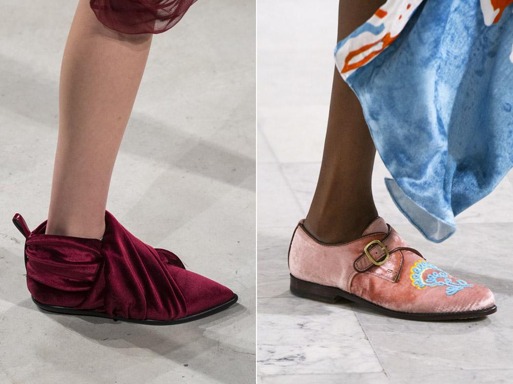 Розовые бархатные туфли