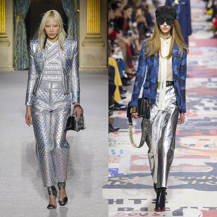 Серебристые женские брюки