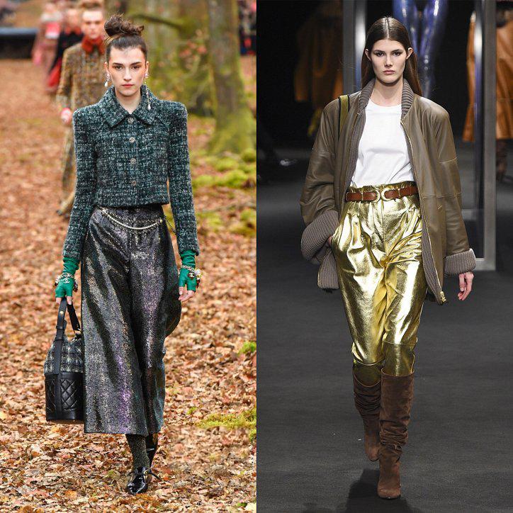 Золотые женские брюки