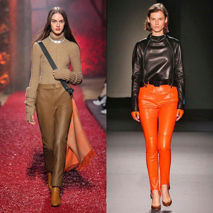Оранжевые кожаные брюки