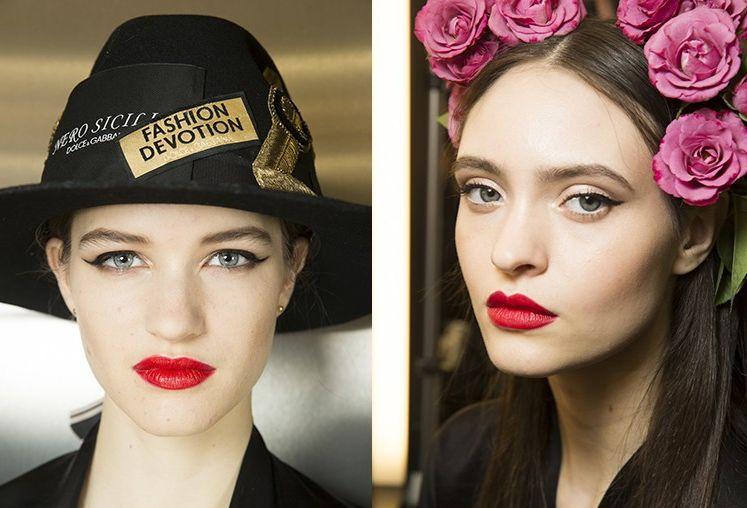 Красный макияж губ