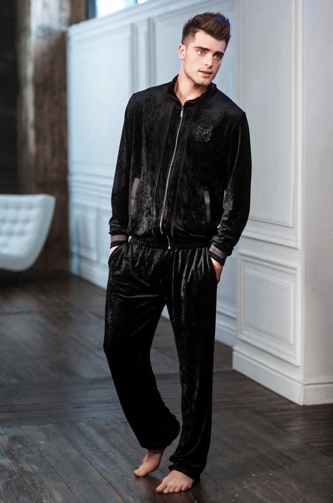 Черный вельветовый мужской спортивный костюм