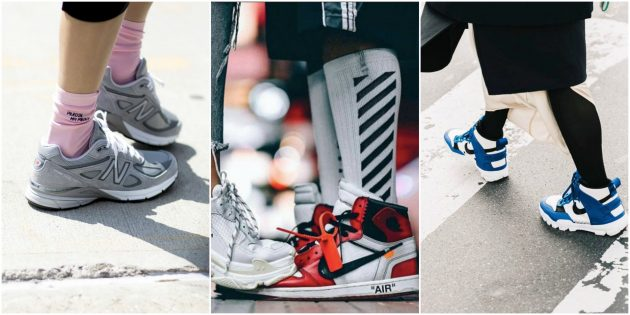 Серые папины кроссовки