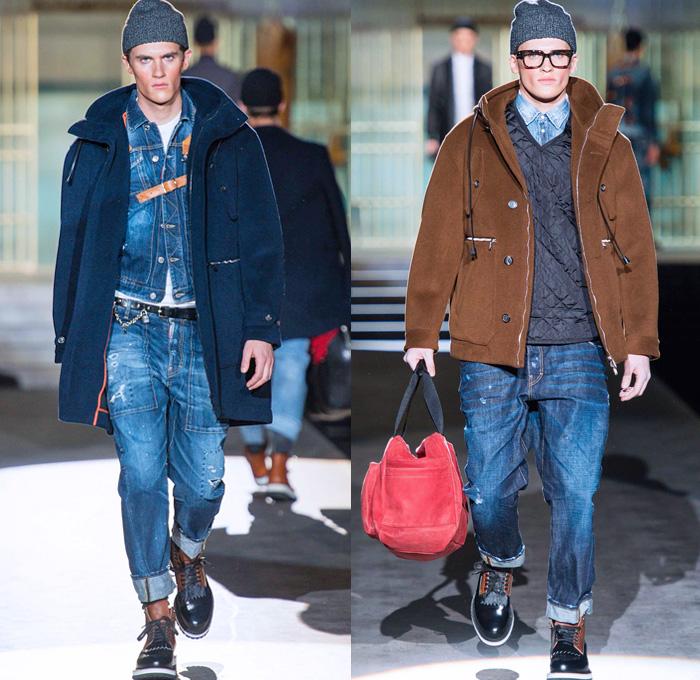 Широкие мужские джинсы с отворотами