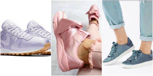 Розовые атласные кроссовки
