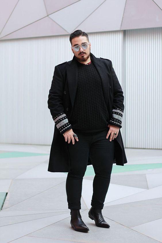 Как носить пальто полному мужчине