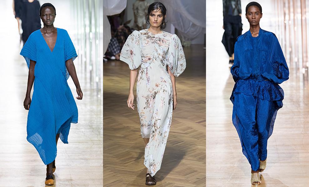 Синее платье с покатыми плечами 2019