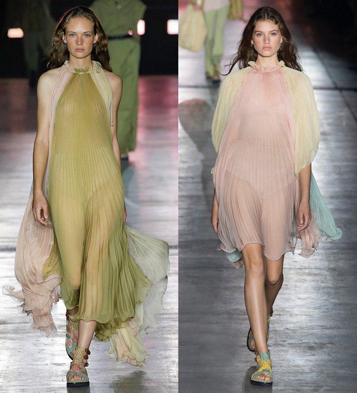 Шифоновые платья с плиссировкой