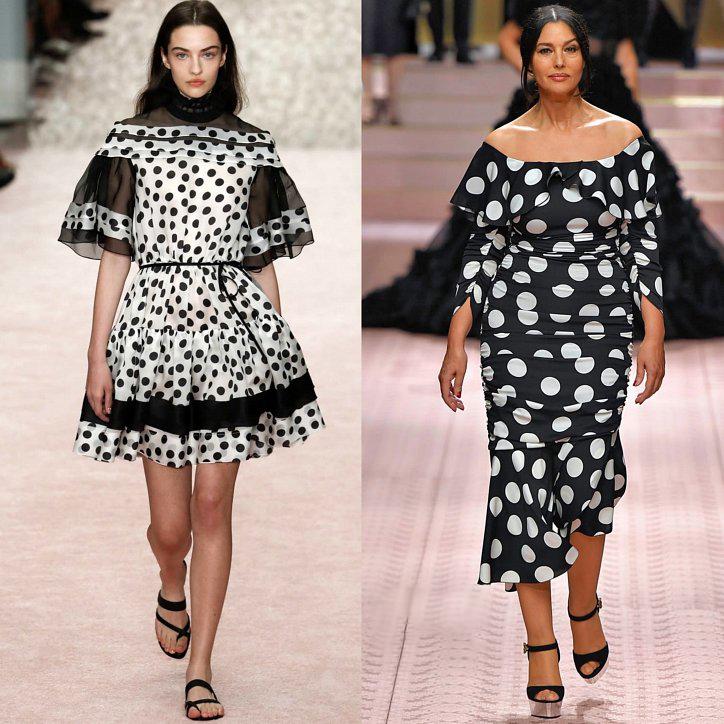 черное-белое платье в горох