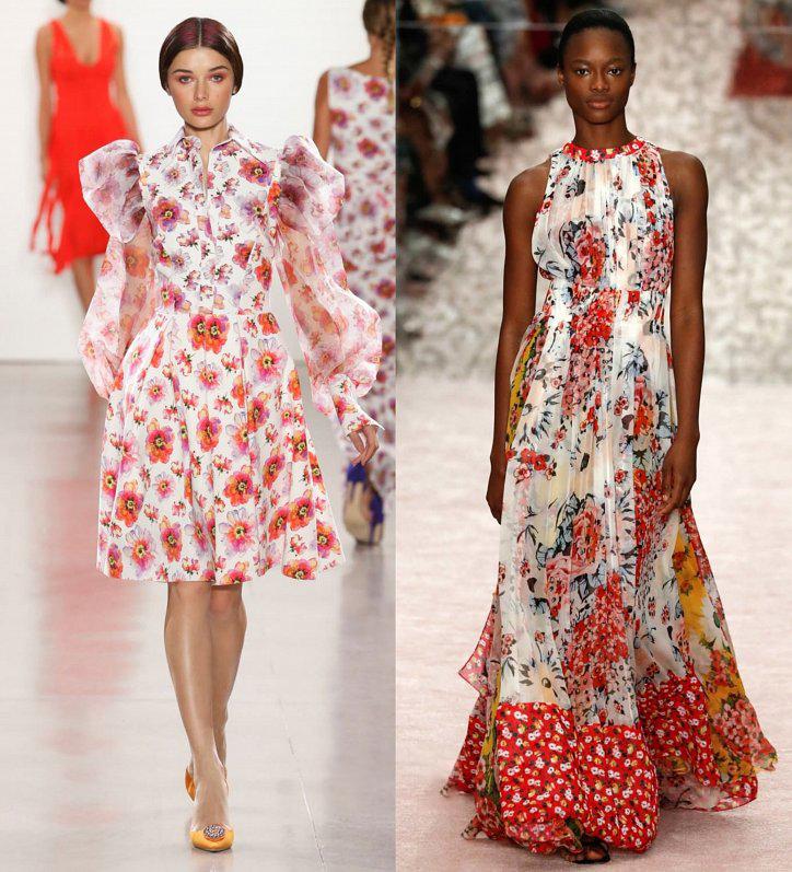 Белое платье в красных цветах
