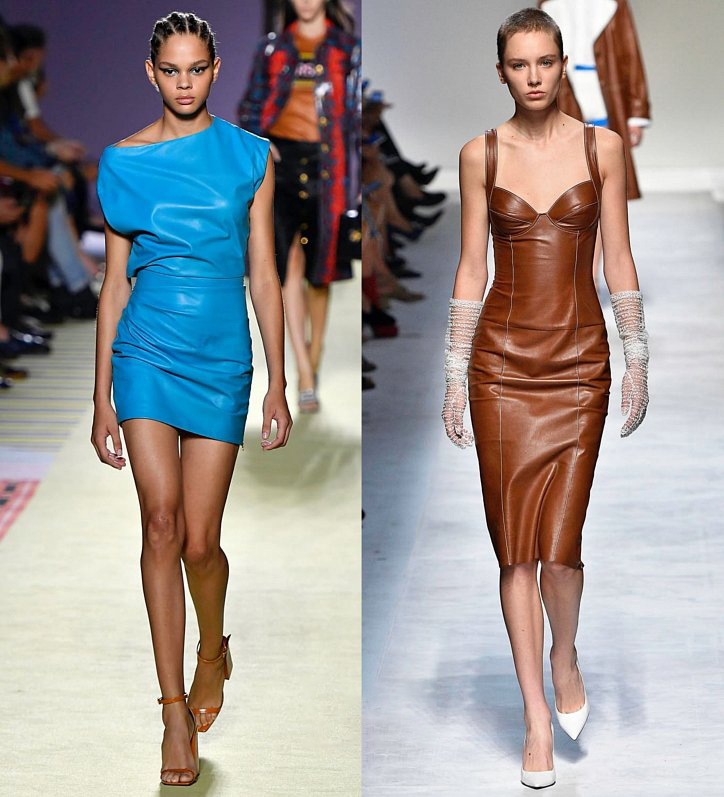 Голубое кожаное платье