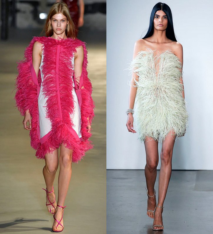 Розовое платье с перьями
