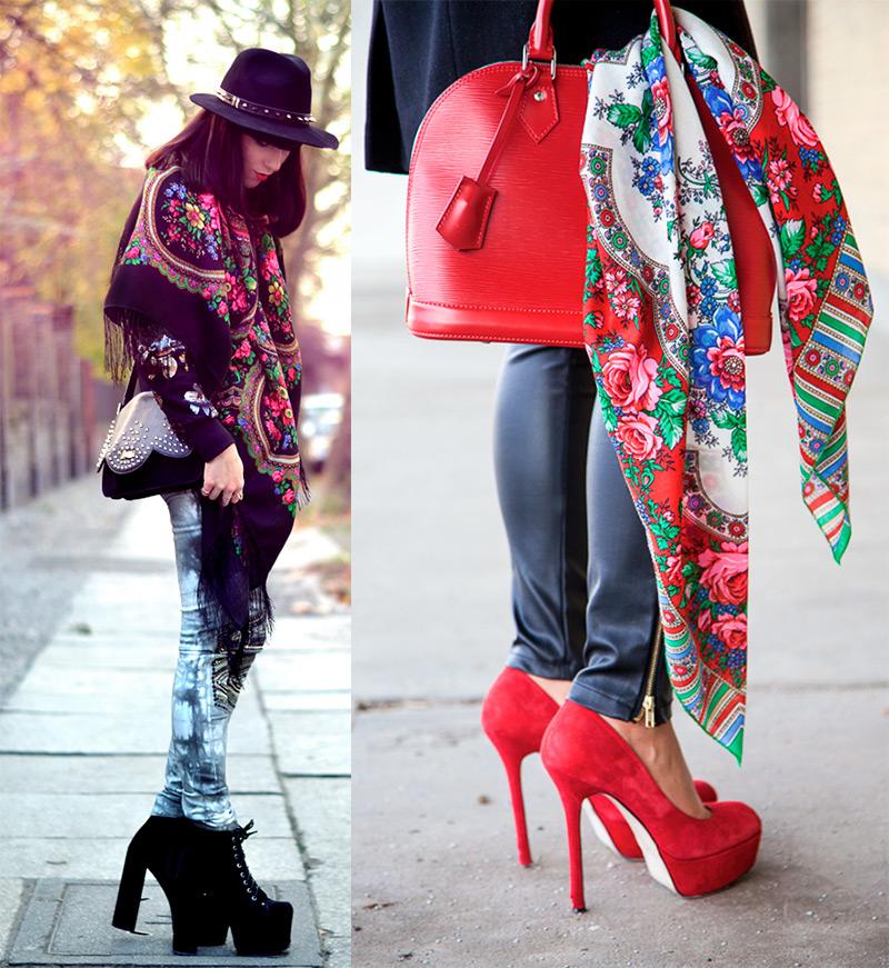 Джинсы с павлопасадским платтком