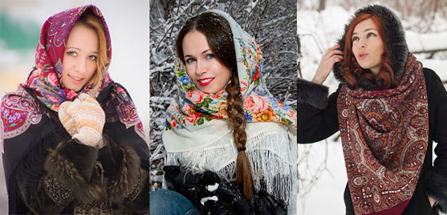 Как носить павлопасадский платок зимой?